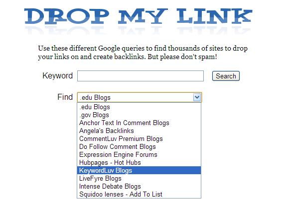 Drop My Link tool