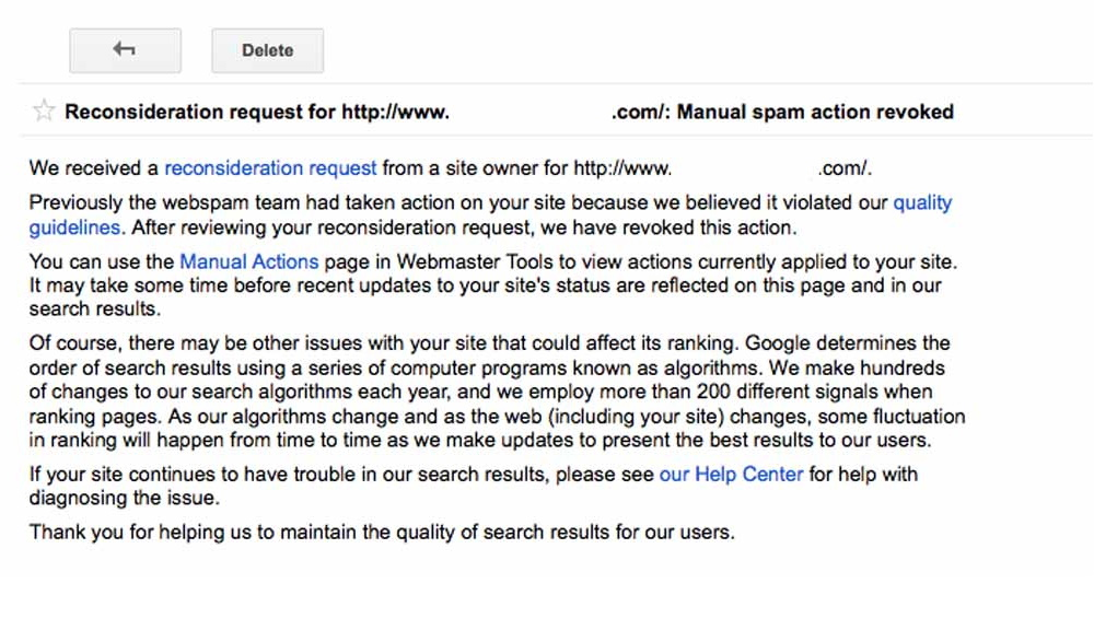 Google Manual Penalty - Reconsideration Request 1
