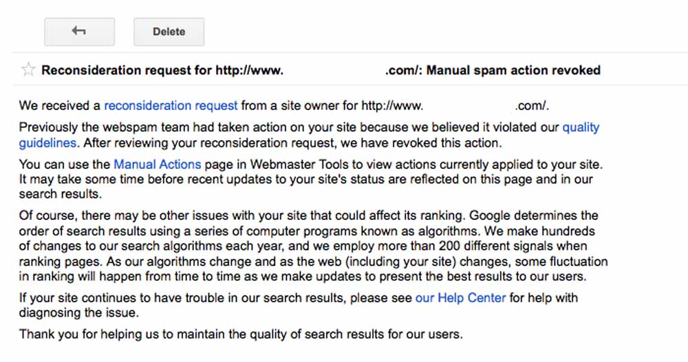 Google Manual Penalty - Reconsideration Request