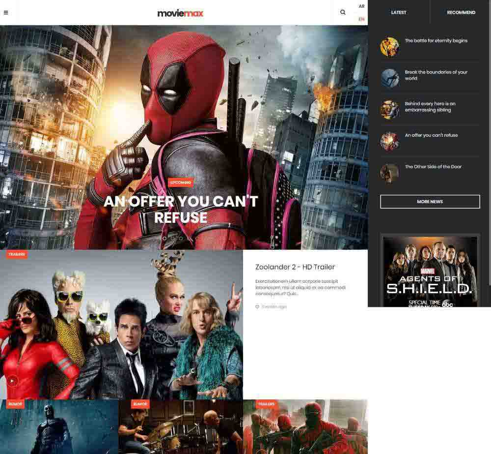 JA Moviemax by Joomlart Demo Layout