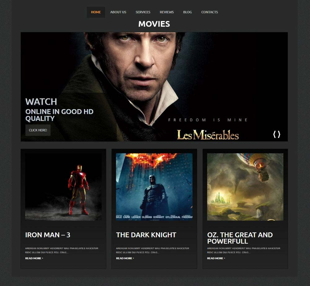 Movie Site by Template Monster Demo Layout
