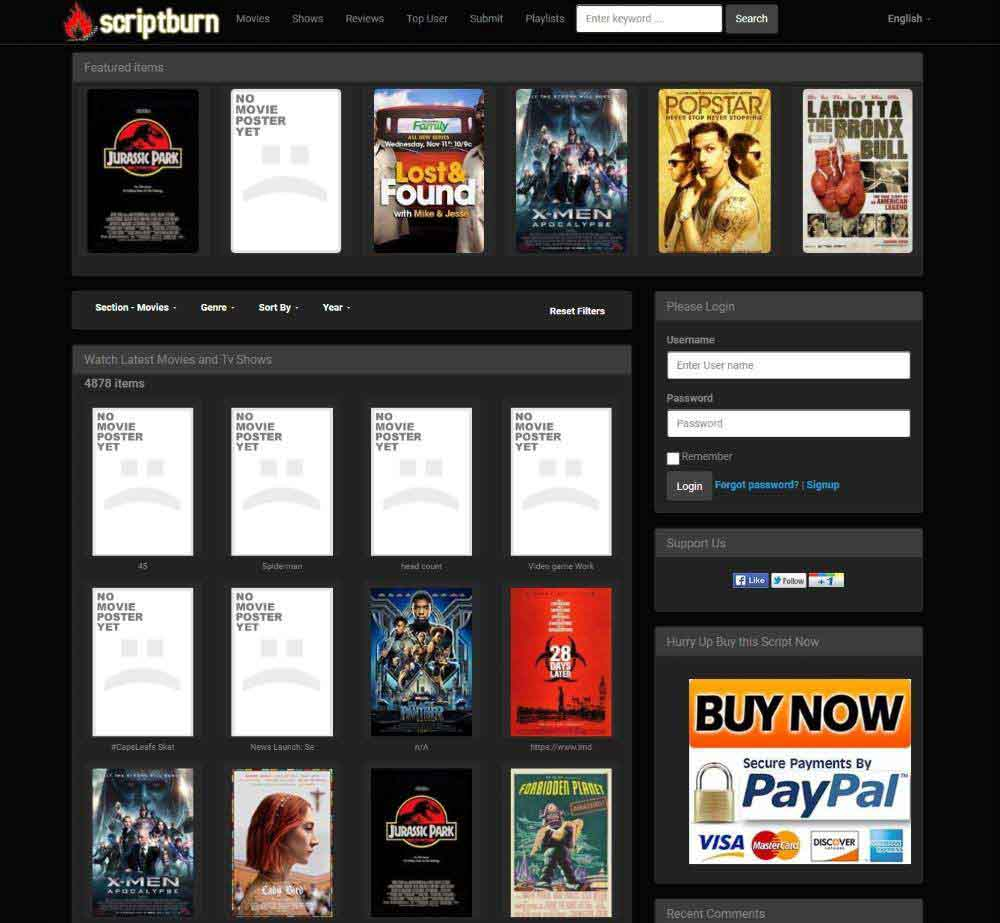 Scriptburn WordPress Movie plugin by Scriptburn Demo Layout