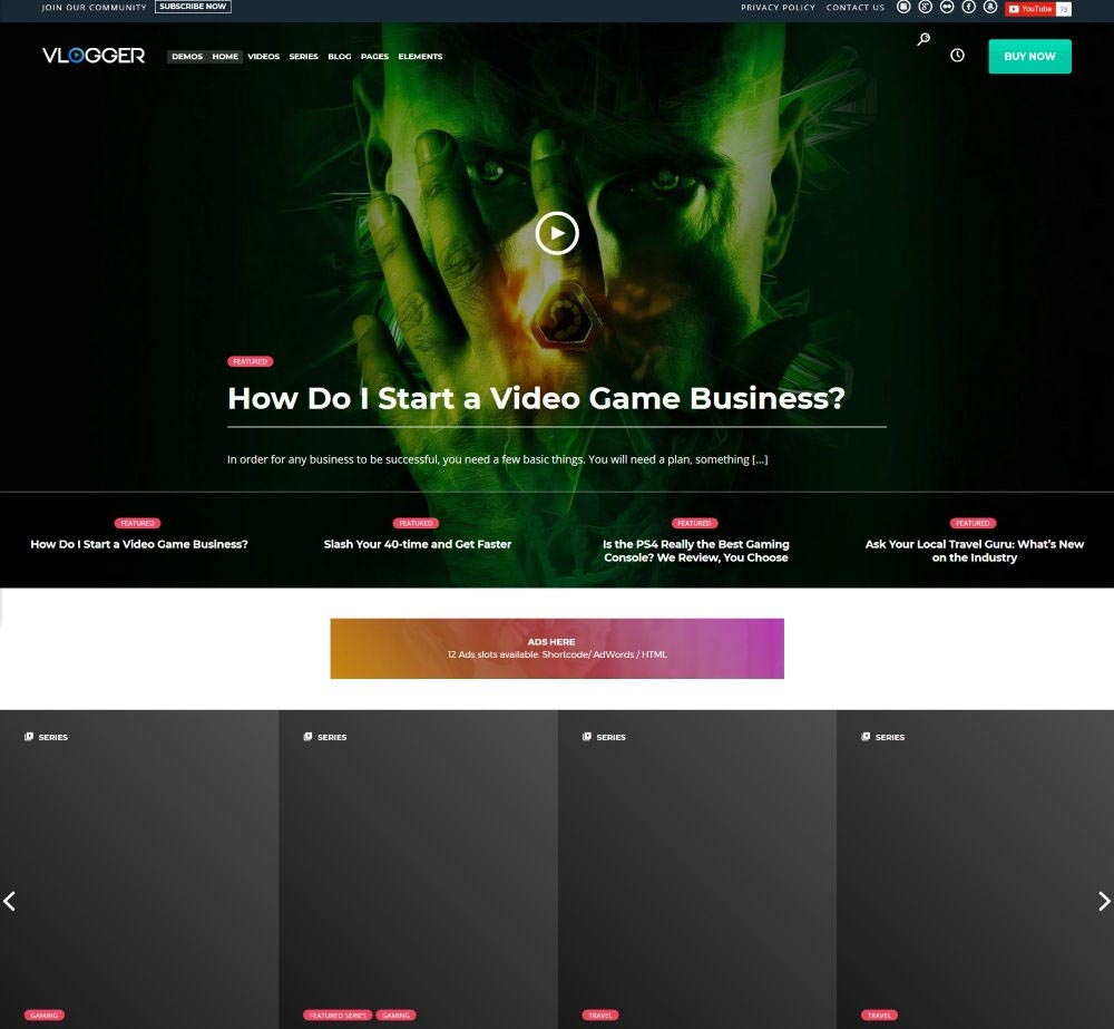 Vlogger by WordPressThemes2go Demo Layout