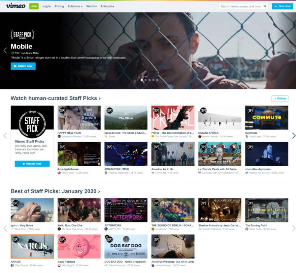 Vimeo-Layout