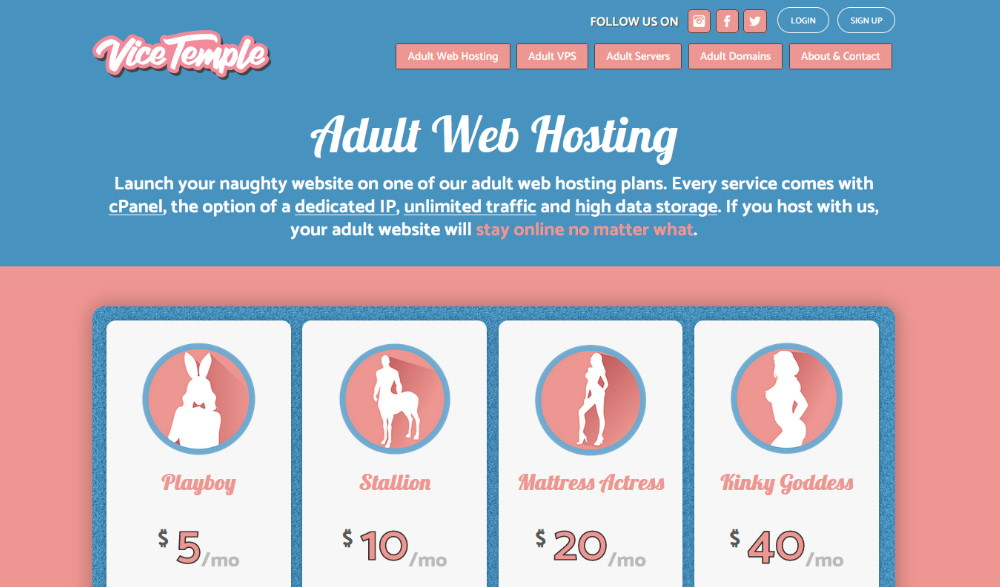 Vicetemple Adult Web Hosting